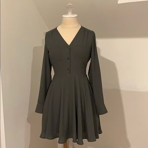 Lined olive green dress